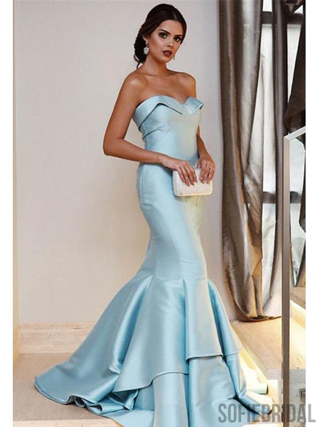 Sweetheart Long Mermaid Light Blue Satin Prom Dresses, PD0897