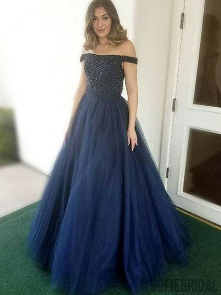 Off Shoulder Long A-line Navy Tulle Beaded Prom Dresses, PD0954