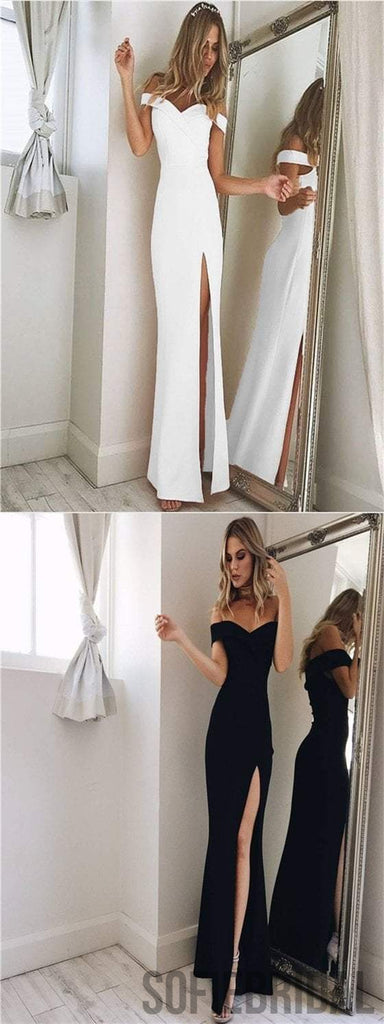 Off Shoulder Side Slit Prom Dresses, Sheath Prom Dresses, Cheap Prom Dresses, Prom Dresses, PD0596