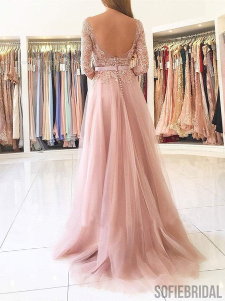 Blush Pink Lace Prom Dresses, Side Slit Prom Dresses, Half Sleeves Prom Dresses, PD0657
