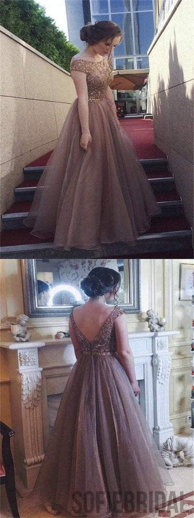 Lovely Beaded Prom Dresses, Tulle Prom Dresses, V-back Prom Dresses, Long Prom Dresses, PD0614