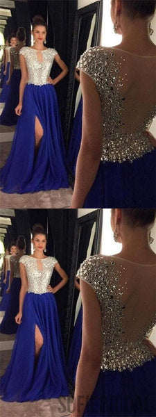 Cap Sleeve Prom Dresses, Rhinestone Prom Dresses, Side Slit Prom Dresses, Long Prom Dresses, PD0660