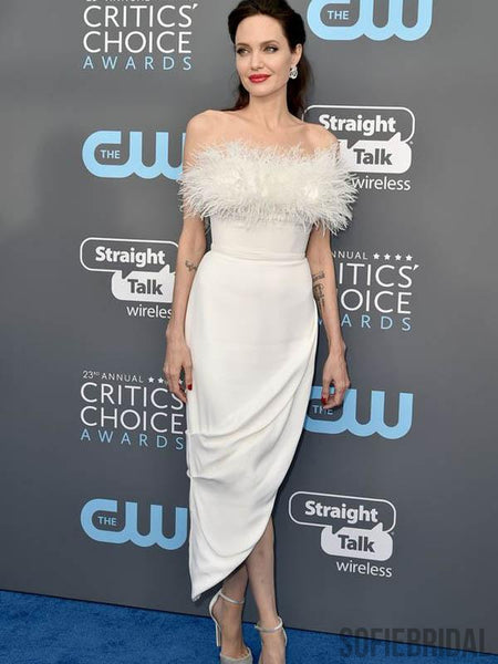 Angelina Jolie Inspired Ivory Feather Strapless Long Evening Dresses, PD0807