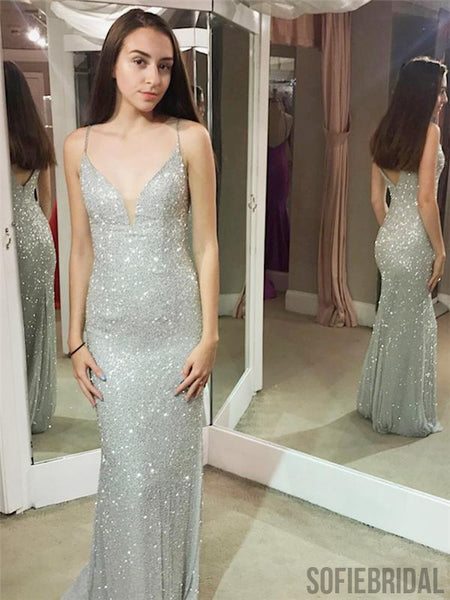 Shiny Prom Dresses, Spaghetti Sheath Prom Dresses, Long Popular Prom Dresses, PD0692