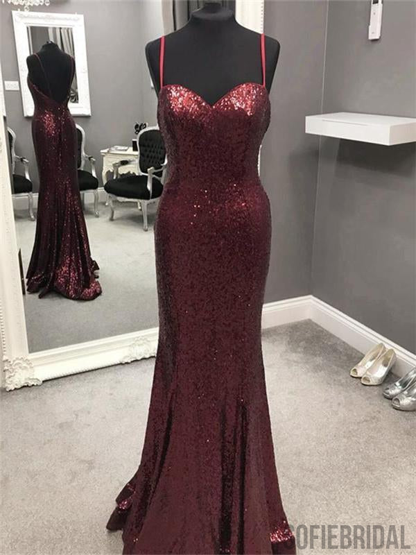 Spaghetti Sequin Prom Dresses, Mermaid Prom Dresses, Popular Prom Dresses, PD0635