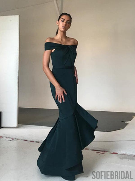 Off Shoulder Long Mermaid Dark Green Prom Dresses, PD0949