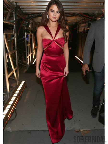 Selena Gomez Red Mermaid Long Celebrity Dresses, Prom Dresses, PD0975