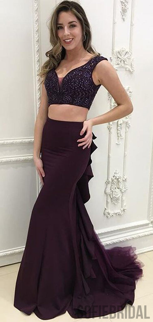 2 Pieces Beaded Dark Purple Long Mermaid Prom Dresses, Cheap Prom Dresses , PD0781