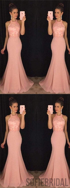 Halter Prom Dresses, Appliques Prom Dresses, Mermaid Prom Dresses, Long Prom Dresses, PD0659