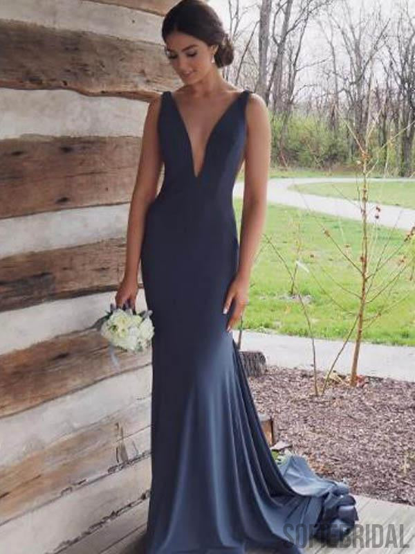 V-neck Long Mermaid Prom/Bridesmaid Dresses, PD0809