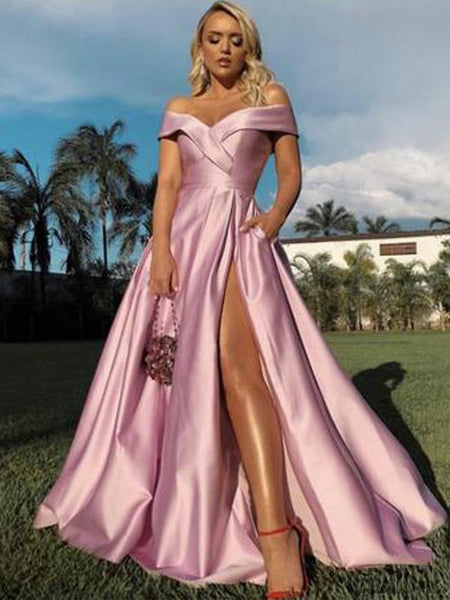 Off Shoulder Long A-line Pink Side Slit Prom Dresses, PD0973