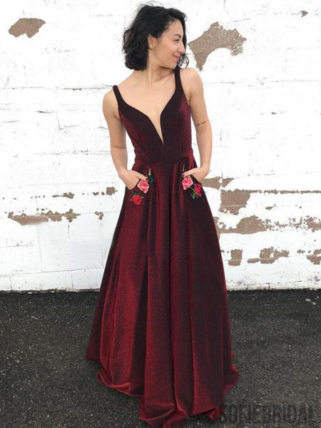 V-neck A-line Velvet Prom Dresses, Cheap  Prom Dresses, PD0839