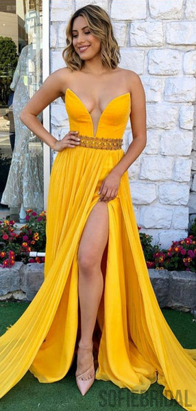 Strapless Yellow Prom Dresses, Side Slit Prom Dresses, Cheap Prom Dresses, PD0721