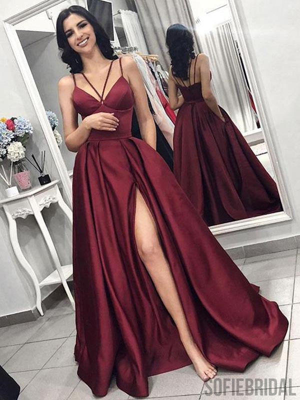 Simple Long A-line Side Slit Satin Prom Dresses, PD0837