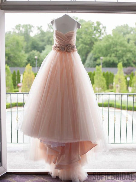 Sweetheart Blush Pink Long A-line Tulle Prom Dresses, WD0286