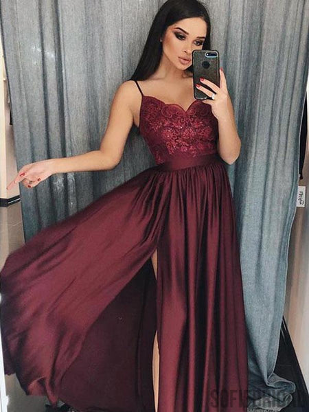 Spaghetti Long A-line Side Slit Maroon Lace Top Prom Dresses, PD0883