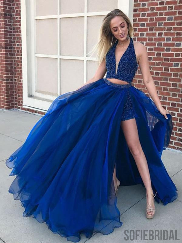 2 Pieces Halter Beaded Long Side Slit Tulle Prom Dresses, PD0842