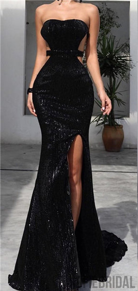 Strapless Long Mermaid Sexy Black Sequin Side Slit Prom Dresses, PD0876