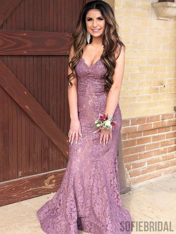 Sexy Mermaid Lace Long Prom Dresses, Popular Prom Dresses, PD0880