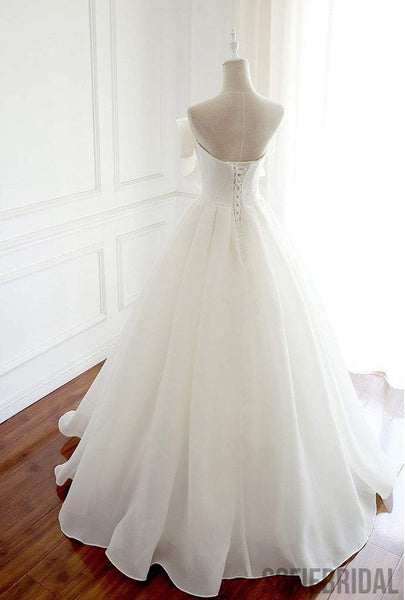 Newest Design Organza Bow A-line Lace Up Wedding Dresses, Chic Popular Wedding Dresses, WD0229