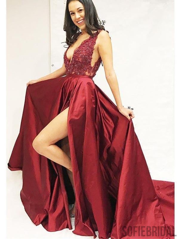 V-neck Lace Beaded Prom Dresses, Red Satin Prom Dresses, Long Prom Dresses, PD0669