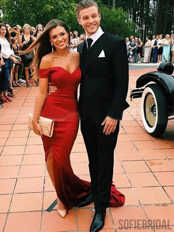 Off Shoulder Side Slit Red Soft Satin Long Prom Dresses, Mermaid Prom Dresses, PD0737