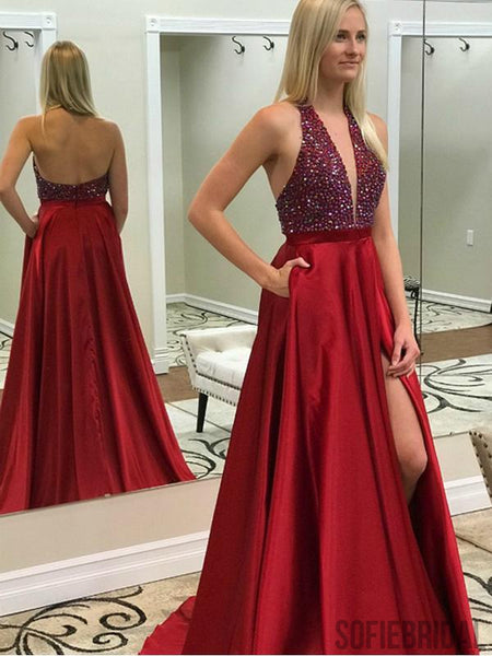 V-neck Red Satin Side Slit Long Beaded Prom Dresses, Halter Prom Dresses , PD0760
