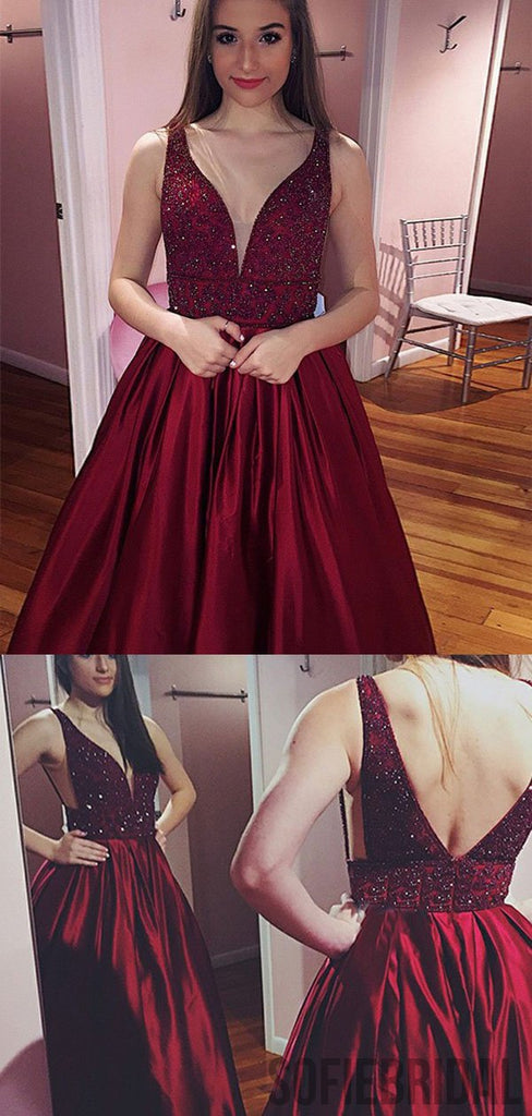 Red Beaded Satin Prom Dresses, Long A-line Prom Dresses, Cheap Prom Dresses, PD0711
