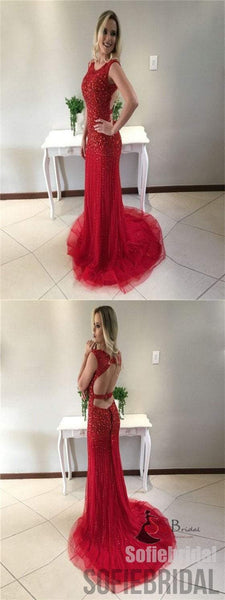 Bateau Rhinestone Prom Dresses, Red Mermaid Prom Dresses, Long Prom Dresses, Prom Dresses, PD0653
