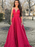 Spaghetti Long A-line Red Prom Dresses, Evening Dresses, PD0879