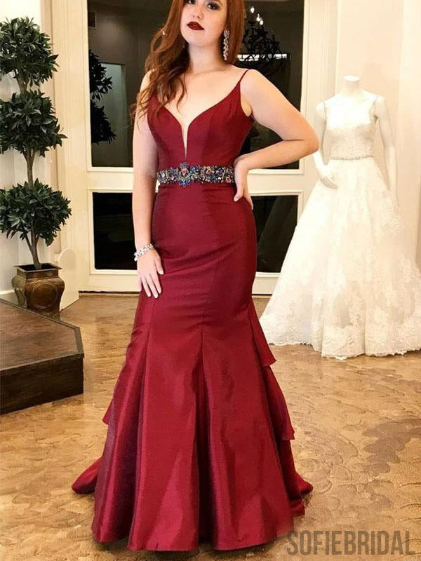6e46cc3e7c Red Mermaid Satin Prom Dresses Withed Rhinestone Waist Band, Cheap Prom  Dresses, PD0747