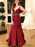 Red Mermaid Satin Prom Dresses Withed Rhinestone Waist Band, Cheap Prom Dresses, PD0747