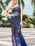 One Shoulder Long Mermaid Royal Blue Rhinestone Beaded Prom Dresses, PD0906