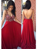 Gorgeous Rhinestone Beaded Long A-line Red Chiffon Prom Dresses, PD0845