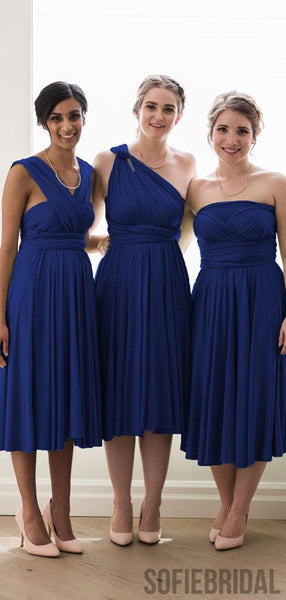 Royal Blue Convertible Cheap Popular Bridesmaid Dresses, PD0851