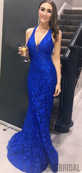 V-neck Royal Blue Lace Long Mermaid Sexy Prom Dresses, PD0922