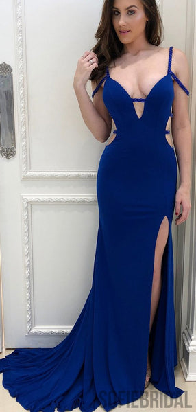 Royal Blue Mermaid Side Slit Prom Dresses, Sexy Long Prom Dresses, PD0751