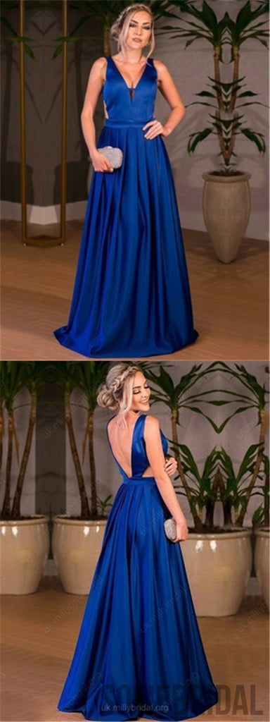 Royal Blue Satin Prom Dresses, A-line Prom Dresses, Cheap Prom Dresses, Prom Dresses, PD0632