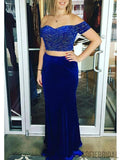 2 Pieces Royal Blue Beaded Off Shoulder Mermaid Prom Dresses, PD0836