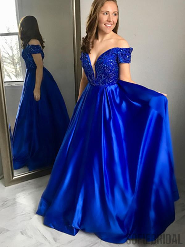 Off Shoulder Royal Blue Beaded Long A-line Prom Dresses, PD0841