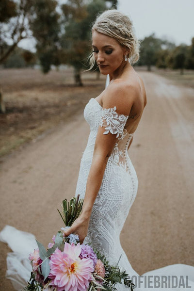 Newest Mermaid Off-shoulder Fulle Lace Sexy Tulle Wedding Dresses With Train, WD0477