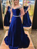 Off Shoulder Long A-line Rhinestone Beaded Velvet Prom Dresses, PD0896
