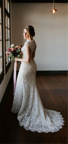 Mermaid Full Lace Open-back Cap Sleeves Wedding Dresses, WD0309