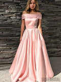 Off Shoulder Long A-line Prom Dresses, Pink Satin Prom Dresses, PD0762