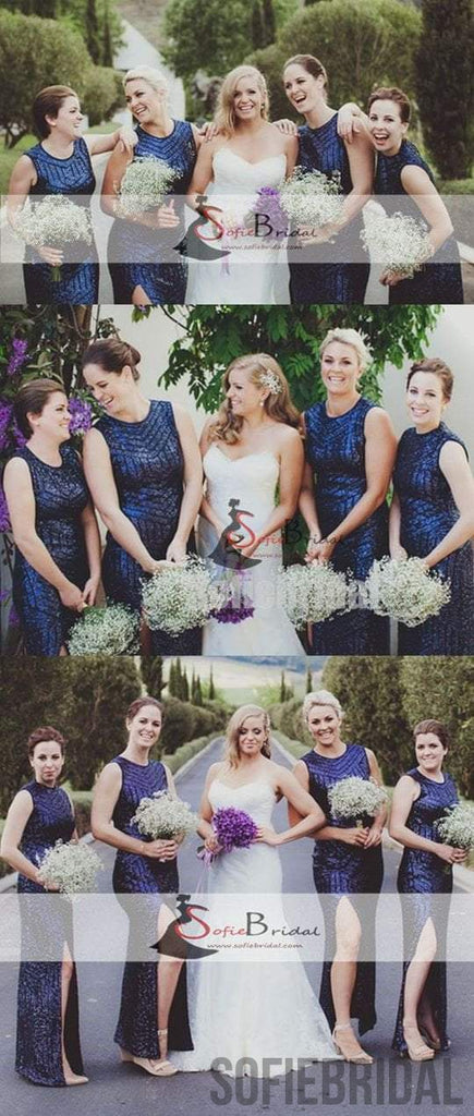 Navy Sequin Bridesmaid Dresses, Long Bridesmaid Dresses, Cheap Side Slit Bridesmaid Dresses, PD0500