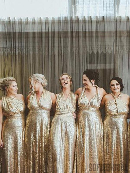 Mismatched Gold Sequin Long A-line Bridesmaid Dresses, PD0909