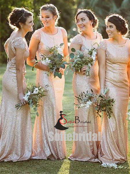 Cap Sleeves Lace Beaded Long Mermaid Sequin Bridesmaid Dresses, PD0910