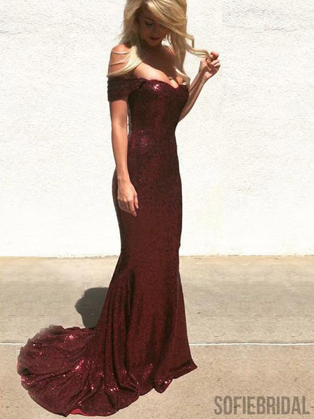 Off Shoulder Prom Dresses, Mermaid Prom Dresses, Sequin Bridesmaid Dresses, PD0725