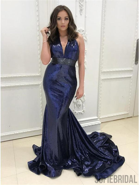 V-neck Sequin Prom Dresses, Navy Prom Dresses, Mermaid Prom Dresses, Prom Dresses, PD0607