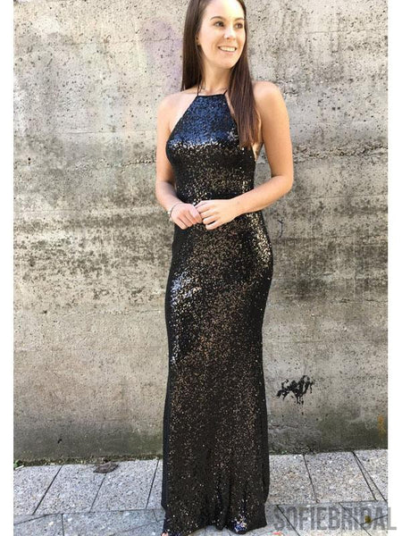 Black Sequin Sheath Prom Dresses, Long Popular Prom Dresses, PD0748